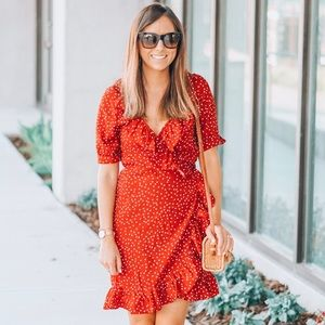 Brand new chicwish red polka dot wrap dress